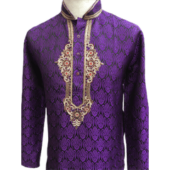 Mens Indian Kurta set in Purple, for weddings, Bollywood Party ( with Draw stringed trousers) - Fusion KA1219 - Prachy Creations