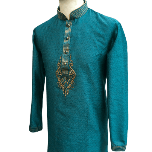 Mens Indian Kurta set in Turquoise, for weddings, Bollywood Party ( with Draw stringed trousers) - Innova VV1219