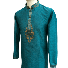 Mens Indian Kurta set in Turquoise, for weddings, Bollywood Party ( with Draw stringed trousers) - Innova VV1219 - Prachy Creations