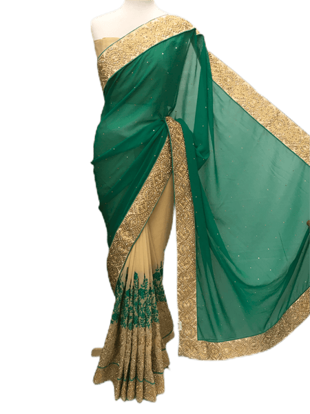 CLEARANCE SALE - Half N Half Saree , Gold and stone work , Blouse Piece KKT5534 05TP17 - Prachy Creations