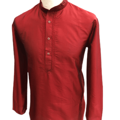 Mens Indian Dhoti Kurta Top in Maroon, Thigh Length, for weddings, Bollywood Party  - Adhish Rp1219 - Prachy Creations