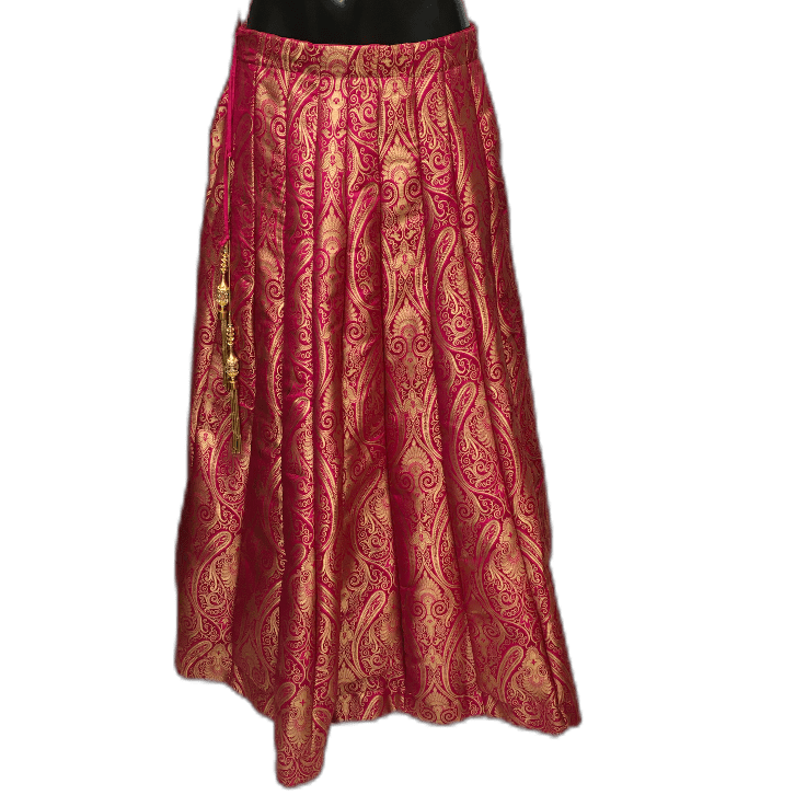 Rich Fuchsia Pink Benarasi Handloom Brocade Lehnga Skirt only  - Mix N Match - KAM1901 TV1019 - Prachy Creations