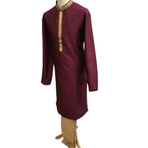 Mens Indian Kurta set in Wine, for weddings, Bollywood Party ( with Draw stringed trousers) - Ethics KJ1219 - Prachy Creations