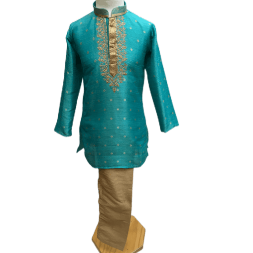 Boys Turquoise Blue Indian Churidar Set - Handloom Benarasi  -  Bollywood Party Weddings - CKB-VL1915 KT1219 - Prachy Creations