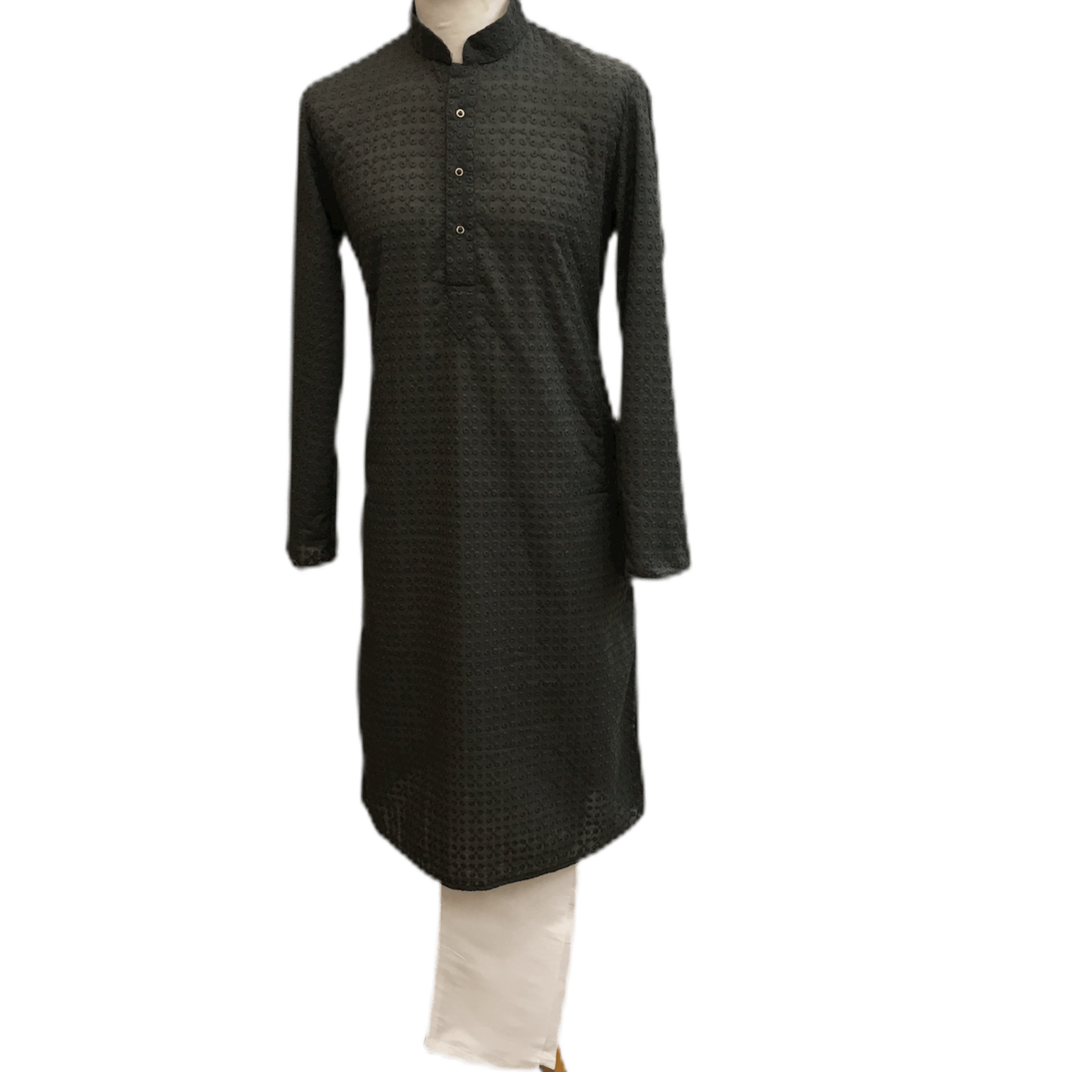 Mens Indian Kurta set in Dark Grey, for weddings, Bollywood Party ( with Draw stringed trousers) - Farari KR1219 - Prachy Creations