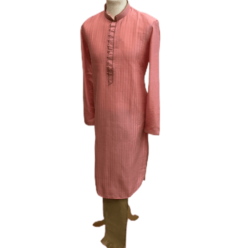 Mens Indian Kurta set in Pink, for weddings, Bollywood Party ( with Draw stringed trousers) - Flair KA1219