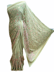 Designer Chiffon Saree with thread work and stone border - ASH2001PC 0920 - Prachy Creations