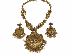 Antique gold finish Necklace and Earrings set - AAN014VR 1117 - Prachy Creations
