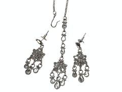 Ladies Silver Finish Necklace with Earrings set - Bollywood - Weddings - LNA432 H1119 - Prachy Creations
