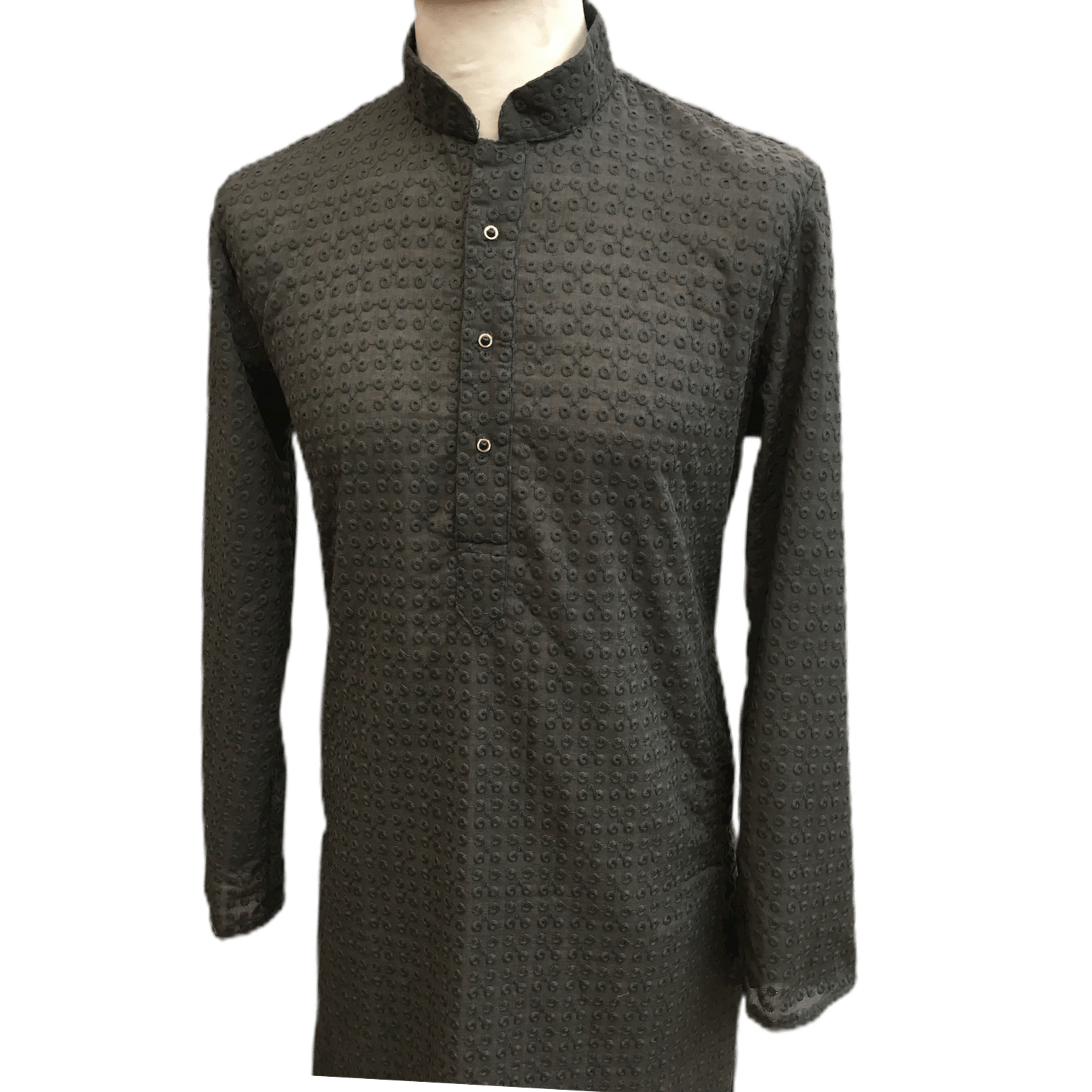Mens Indian Kurta set in Dark Grey, for weddings, Bollywood Party ( with Draw stringed trousers) - Farari KR1219