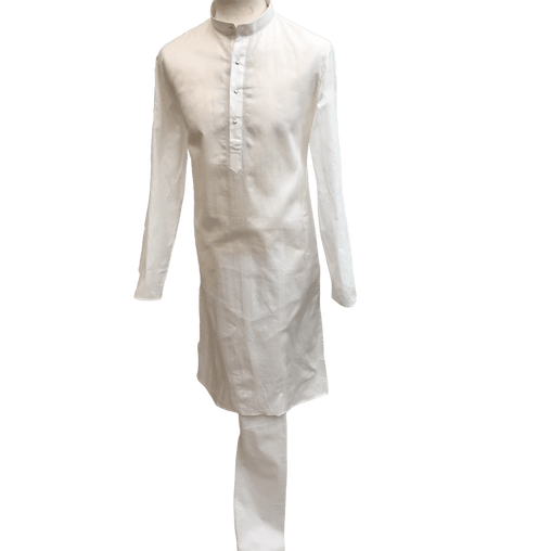 Mens Indian Kurta set in white Cotton,  ( with Draw stringed trousers) - Camry KK1219 - Prachy Creations