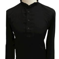 Mens Indian Kurta Top in Black Linen, Thigh Length, for weddings, Bollywood Party  - Civic KY1219 - Prachy Creations