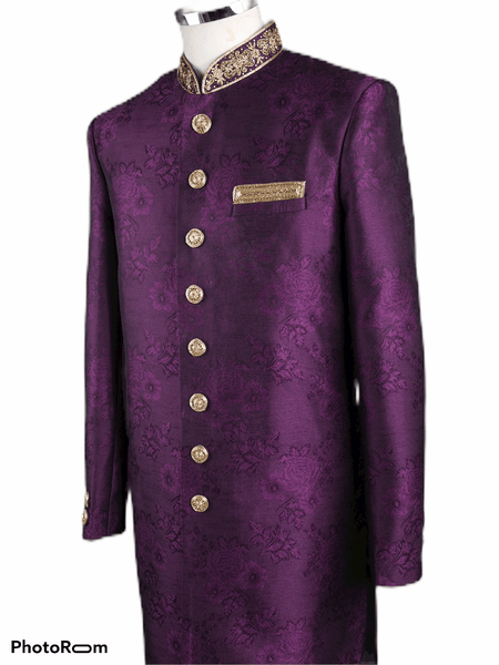 Mens Purple Wine Brocade Sherwani - VL1904 AA1119