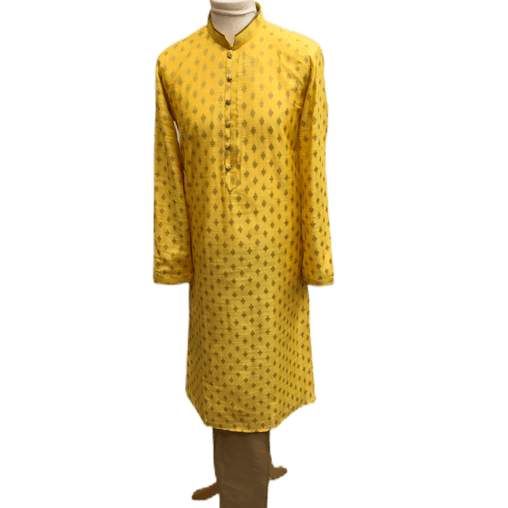 Mens Indian Kurta set in Yellow, for weddings, Bollywood Party ( with Draw stringed trousers) - Innova VY1219 - Prachy Creations