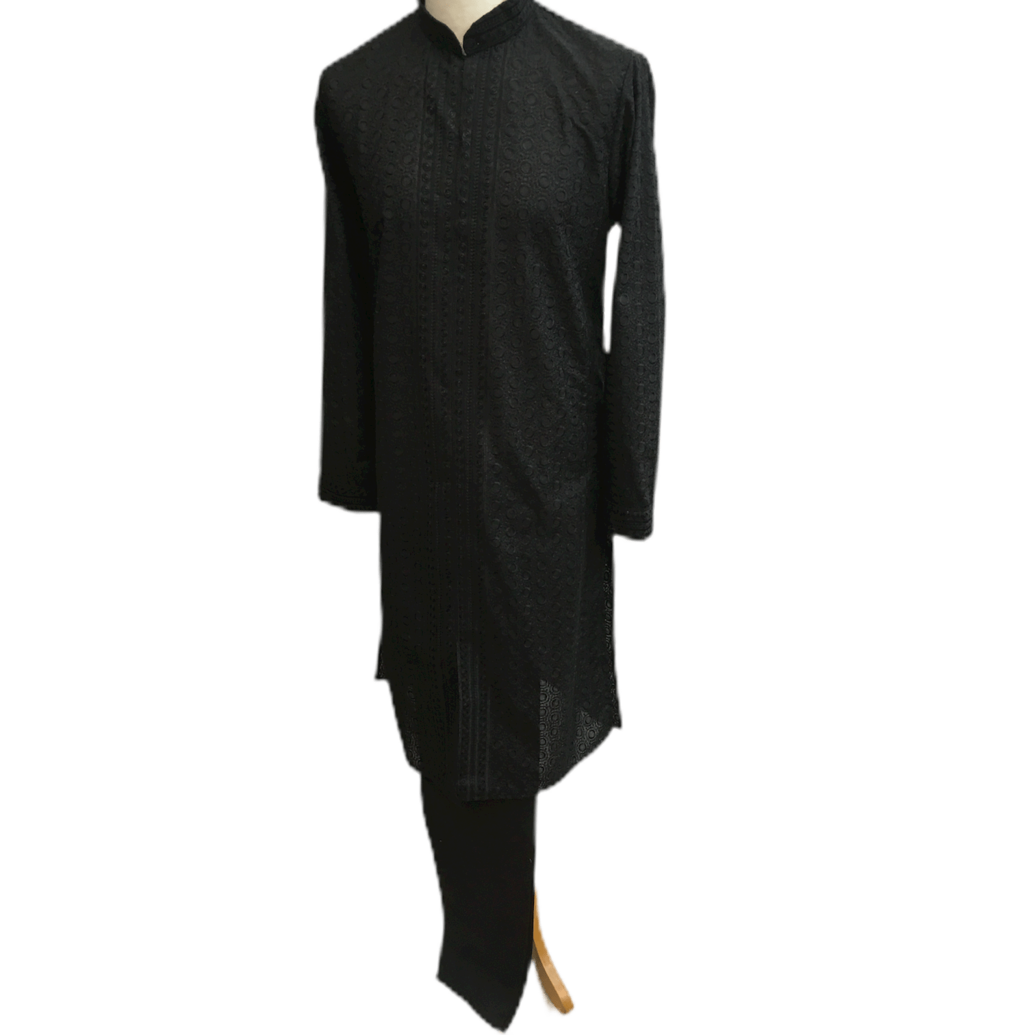 Mens Indian Kurta set in Black, for weddings, Bollywood Party ( with Draw stringed trousers) - Fellow KR1219 - Prachy Creations