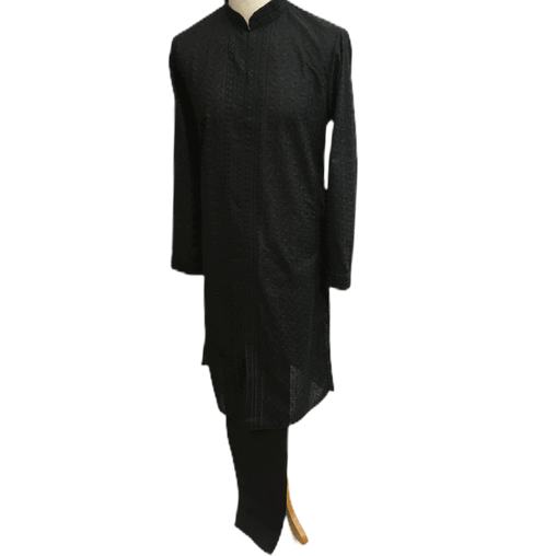 Mens Indian Kurta set in Black, for weddings, Bollywood Party ( with Draw stringed trousers) - Fellow KR1219