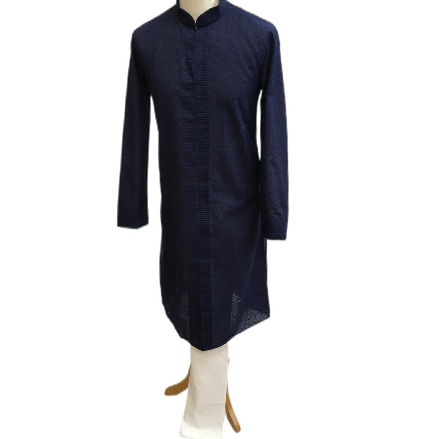 Mens Indian Kurta set in Navy blue, for weddings, Bollywood Party ( with Draw stringed trousers) - Farari KR1219