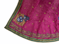 CLEARANCE SALE - Hand Embroidered saree with Blouse piece - DF1201CY 0612 - Prachy Creations