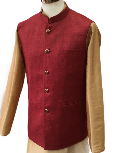 Jute Cotton Mens Bollywood Waistcoat in Red - YD2001 KV0320