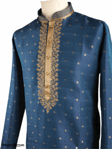 Mens Blue Benarasi Brocade Kurta set -VL1901VJ 1119