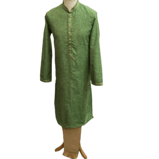 Mens Indian Kurta set in Green, for weddings, Bollywood Party ( with Draw stringed trousers) - Flair KA1219