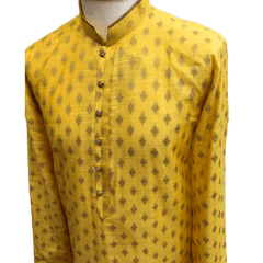 Mens Indian Kurta set in Yellow, for weddings, Bollywood Party ( with Draw stringed trousers) - Innova VY1219