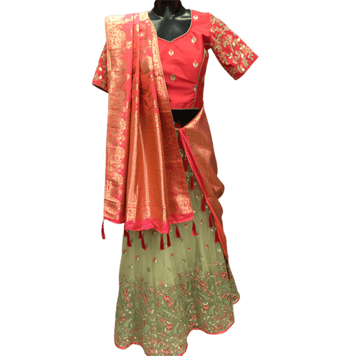Fully stitched Ladies Lehnga suit  - Sea Green and Lemon - PLD5050 CY1119