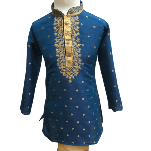 Boys Blue Indian Churidar Set - Handloom Benarasi  -  Bollywood Party Weddings - CKB-VL1914 KT1209