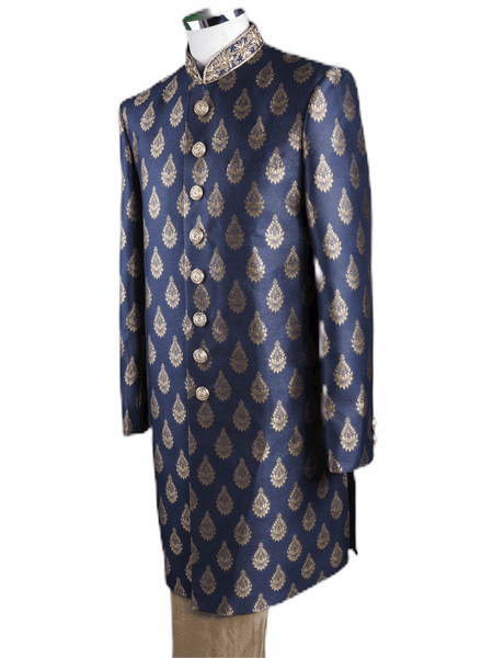 Mens Navy Blue Brocade Sherwani - VL1905 AA1119