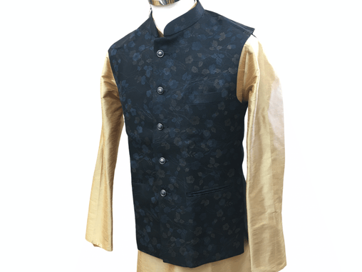 Black Printed Indian waistcoat for Men - Mix N Match with Kurtas - YD2003 kp