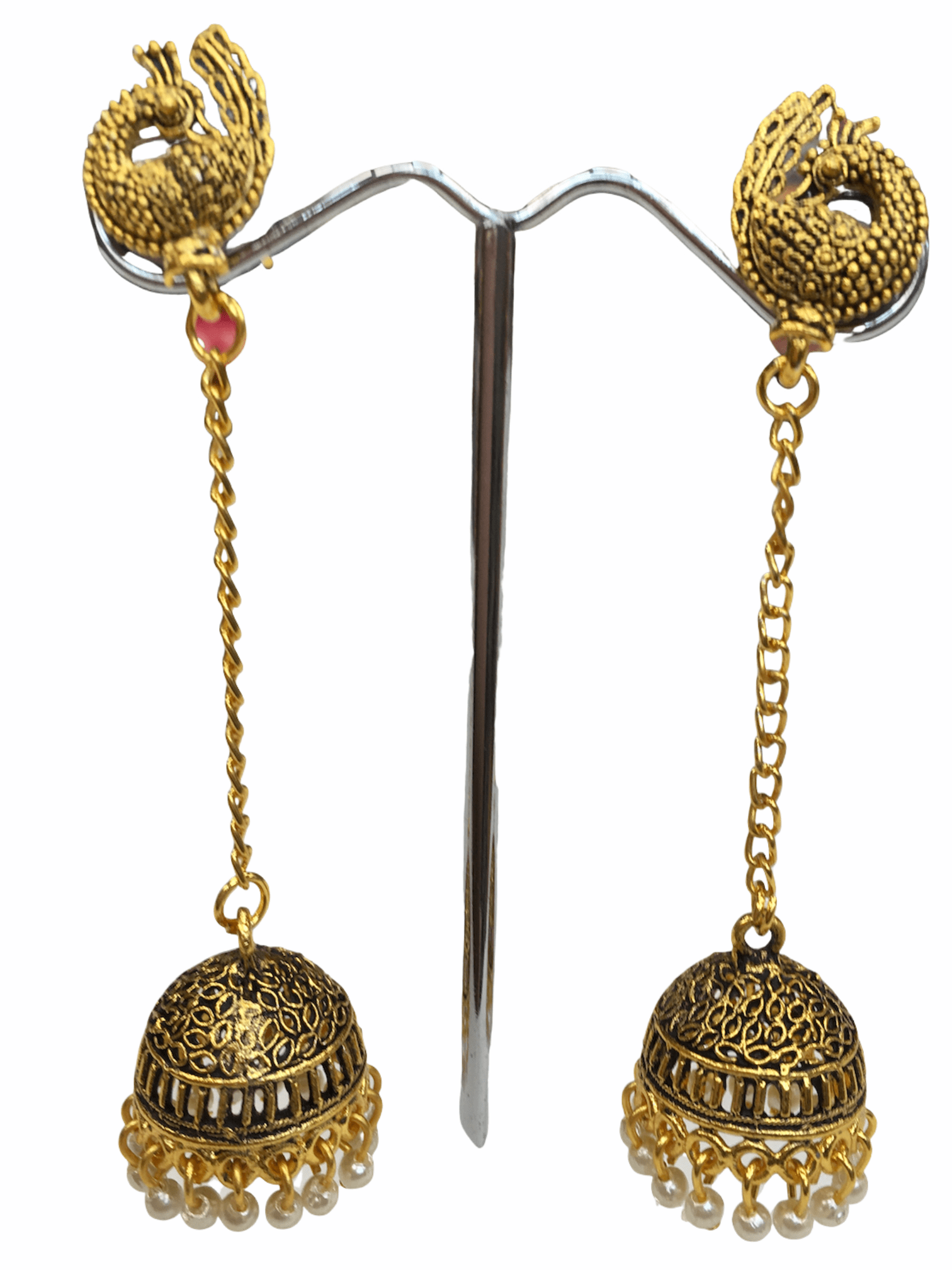 Antique Gold finish Zhumki Style earrings - SHR2002 Ap0320 - Prachy Creations