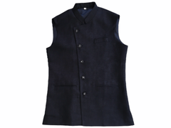 Navy Blue Jute Cotton Indian waistcoat for Men - Mix N Match with Kurtas - YD2004 kv - Prachy Creations