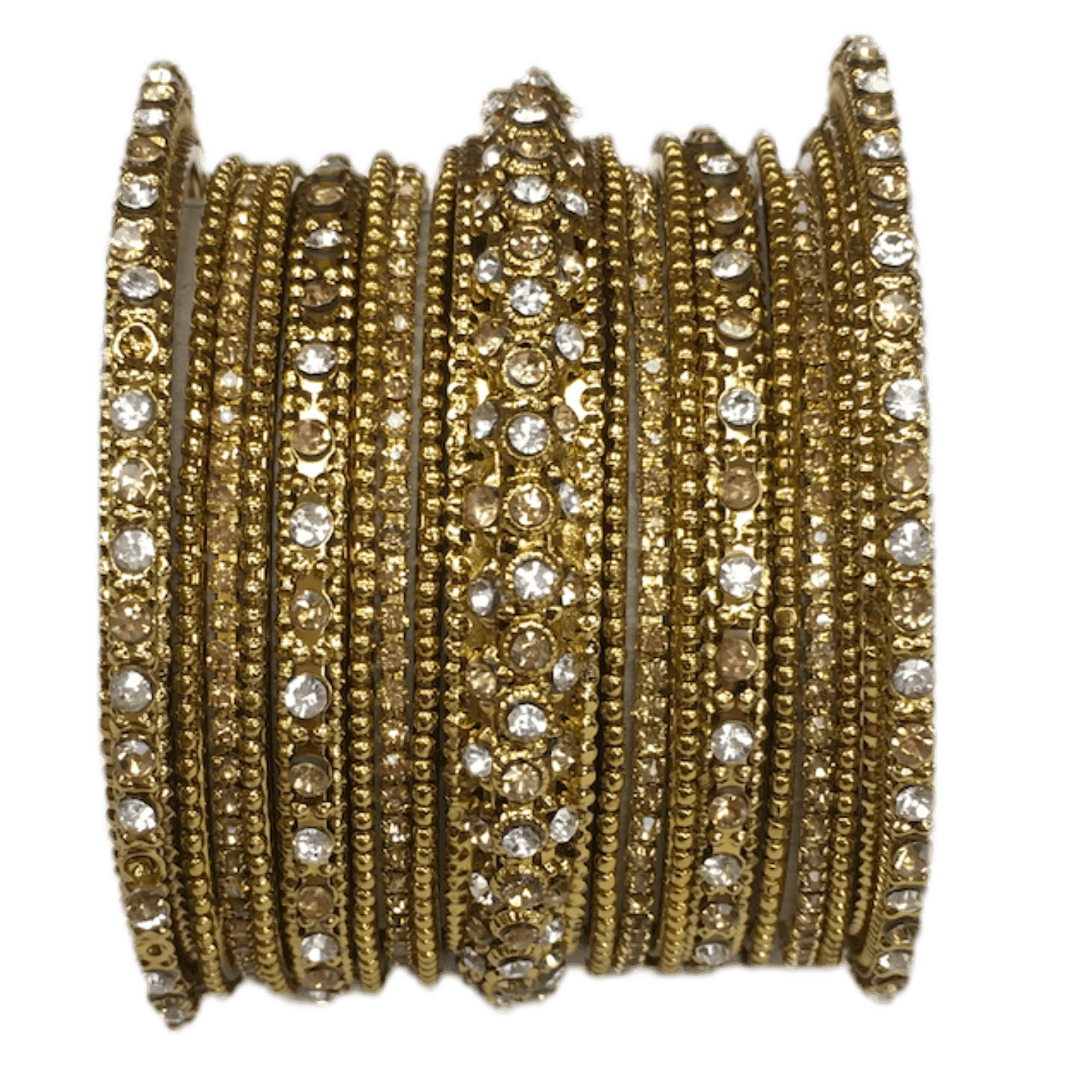 A set of 17 Gold / Clear stone Bangles set - Bollywood, Weddings, Fancy Dress JAN6642 T0519 - Prachy Creations