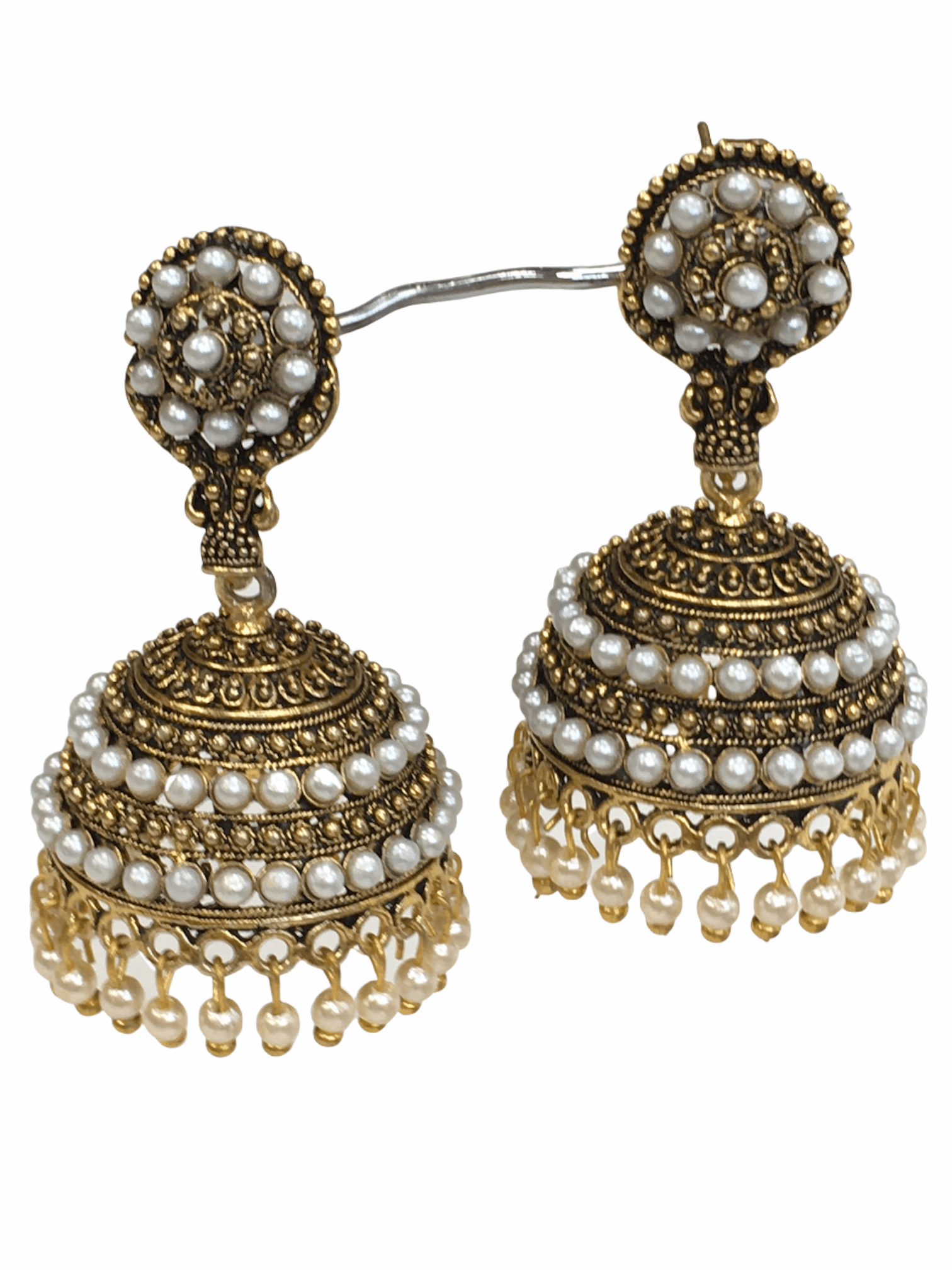 Antique Gold finish Zhumki Style earrings - SHR2006 Kp0320 - Prachy Creations