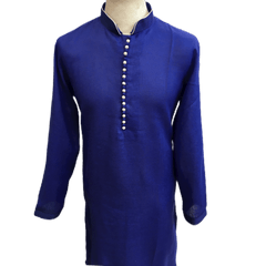 Mens Indian Kurta set in Royal Blue, for weddings, Bollywood Party ( with Draw stringed trousers) - Farishta KP1219 - Prachy Creations