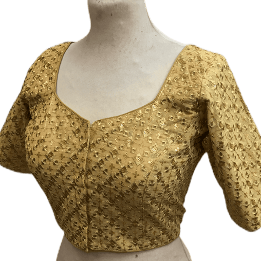 Gold Sequence Embroidered Saree blouse - AF1927 Hp1219 - Prachy Creations
