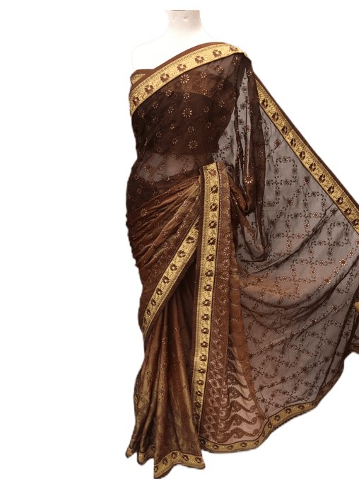 CLEARANCE SALE - Designer chiffon saree with threadwork, blouse piece - DRF5023TC 0218 - Prachy Creations