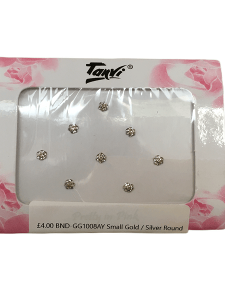 Pack of 6 round gold / silver stone Bindi 0617 gg1008