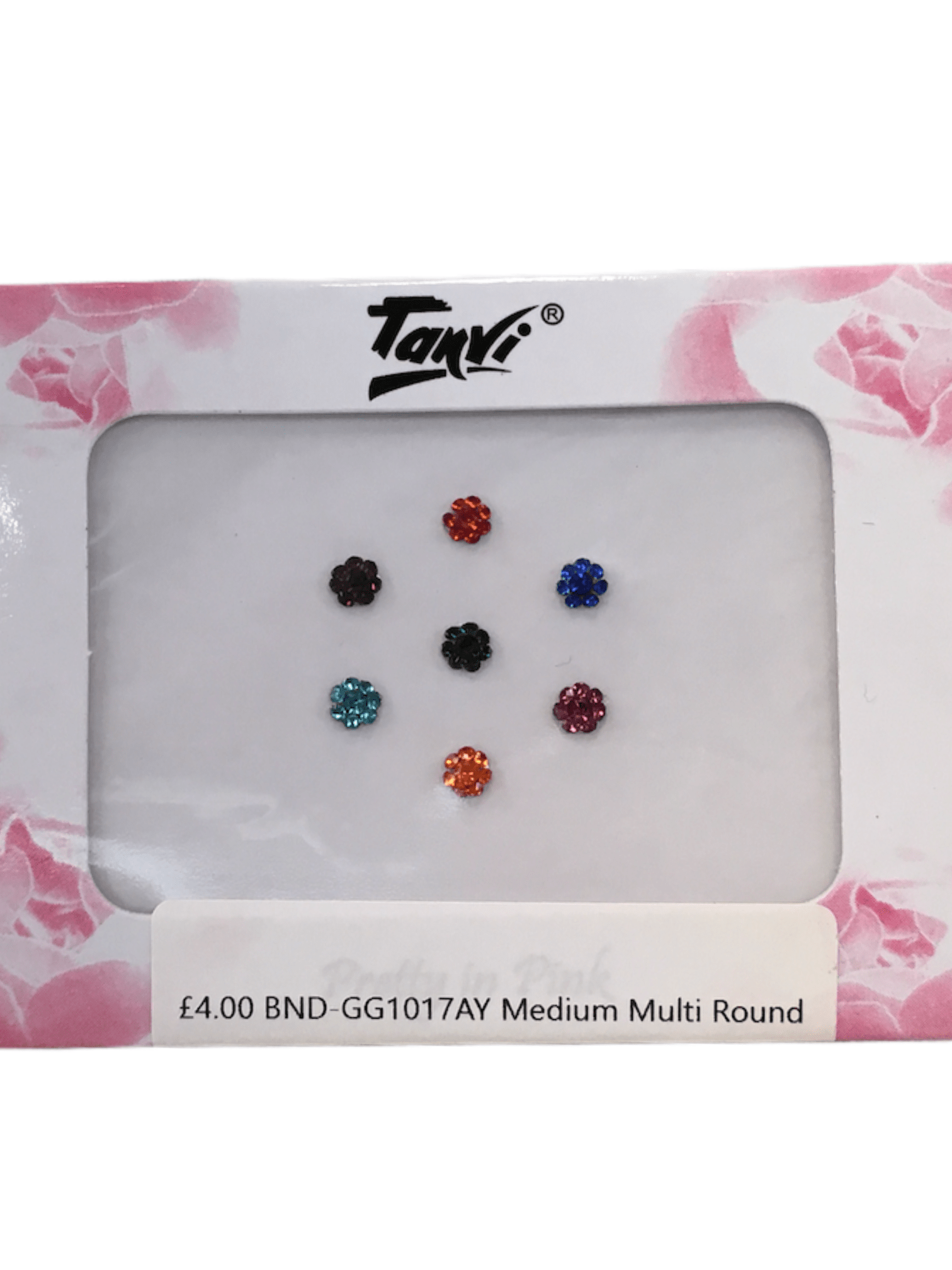 Pack of 7 round Coloured stone Bindi gg1017 - Prachy Creations