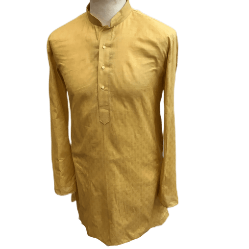 Mens Indian Kurta Top in Beige Gold, Thigh Length, for weddings, Bollywood Party  - Bolero C1219