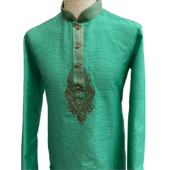 Mens Indian Kurta set in Sea Green, for weddings, Bollywood Party ( with Draw stringed trousers) - Innova VV1219