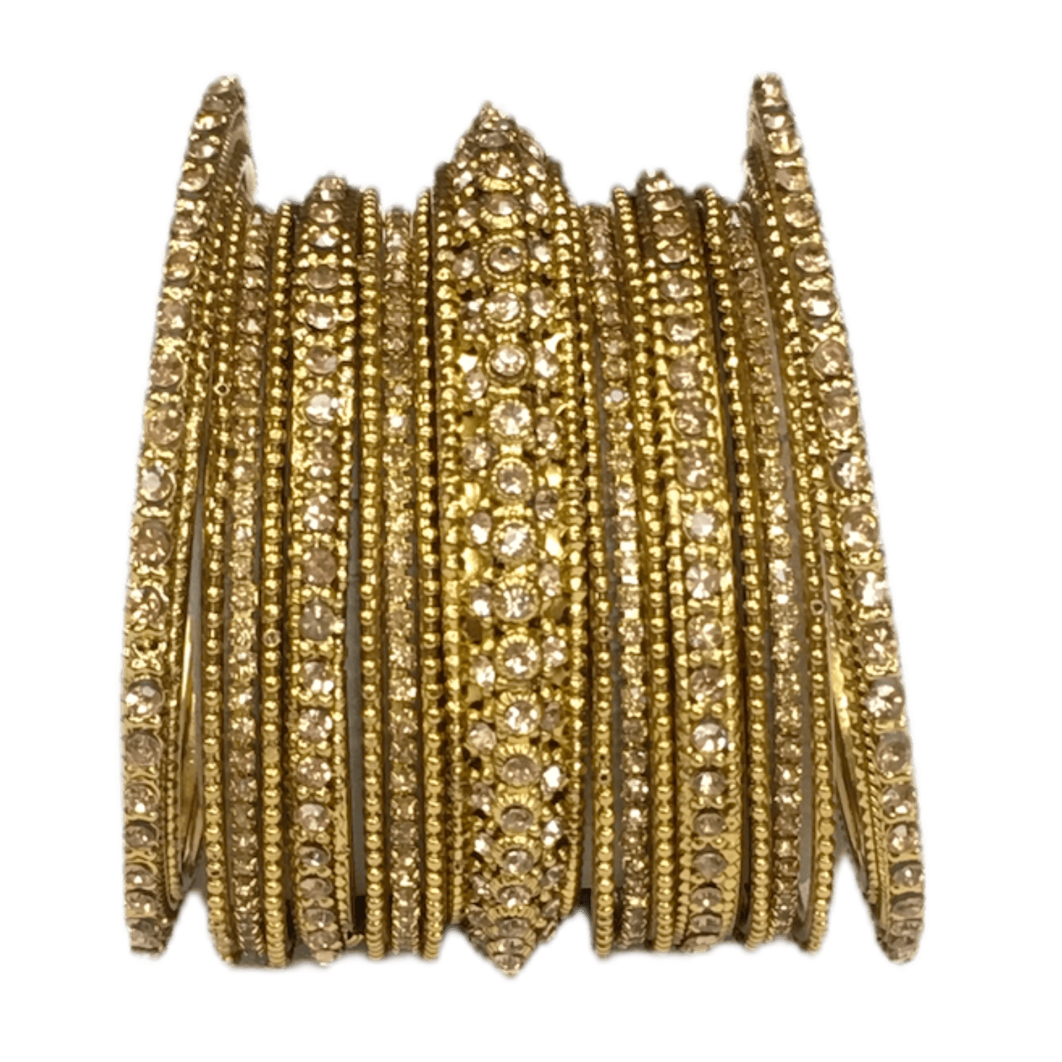 A set of 17 Antique / LCT Gold stone Bangles - Bollywood, Weddings, Fancy Dress JAN6641 T0519 - Prachy Creations