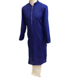 Mens Indian Kurta set in Royal Blue, for weddings, Bollywood Party ( with Draw stringed trousers) - Farishta KP1219