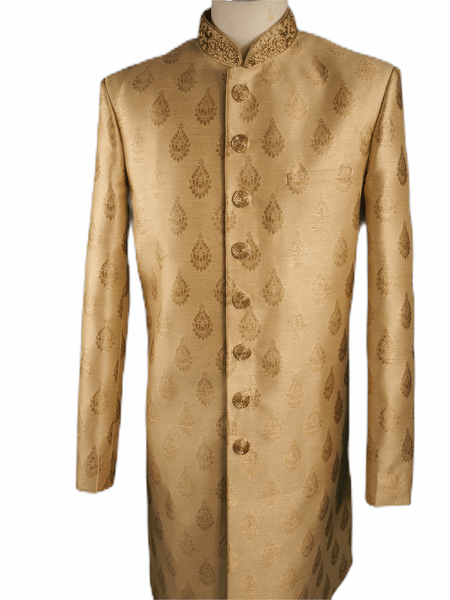 Mens Gold Brocade Sherwani - VL1906 AA1119