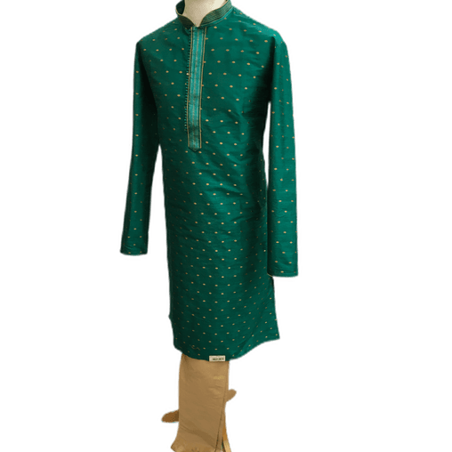 Mens Indian Kurta set in Green , for weddings, Bollywood Party (with gold trousers) - YD1933 KV0819