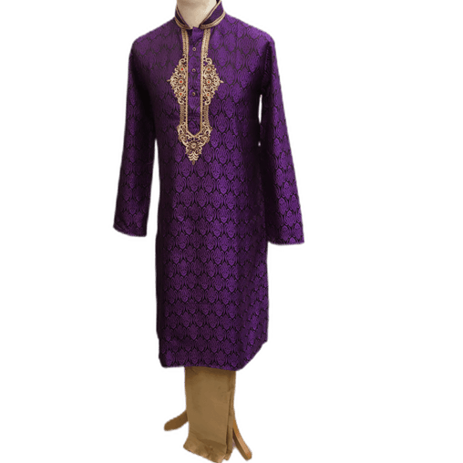 Mens Indian Kurta set in Purple, for weddings, Bollywood Party ( with Draw stringed trousers) - Fusion KA1219