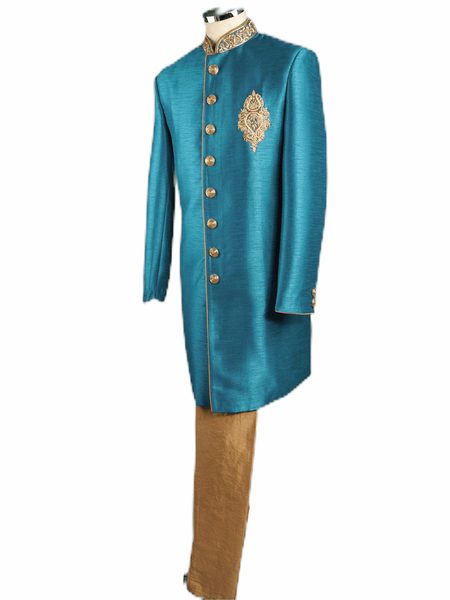 Mens Turquoise Blue Raw Silk Sherwani - VL1909 AV1119