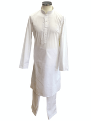Mens Indian Kurta set in White , Temple, Pooja, Eid, Mehndi or Funeral ( with Draw stringed trousers) - Cello 09KK20 - Prachy Creations