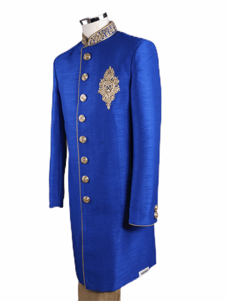 Mens Raw Silk Royal Blue Brocade Sherwani - VL1907 AA1119