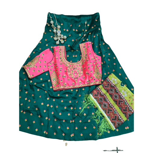 Simple Classic 3 pcs Lehnga Suit Set - Coral Blouse with Green Skirt and shawl - DCB1933 0120